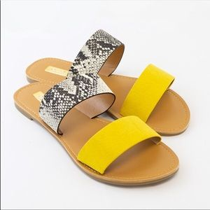 Size 7 Yellow And Snake Sandal